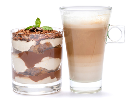 Classic tiramisu dessert in a glass and cup of coffee isolated on a white background with clipping path