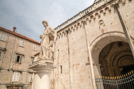 Monument or statue at Saint Lovre church square in Trogir, Croatia