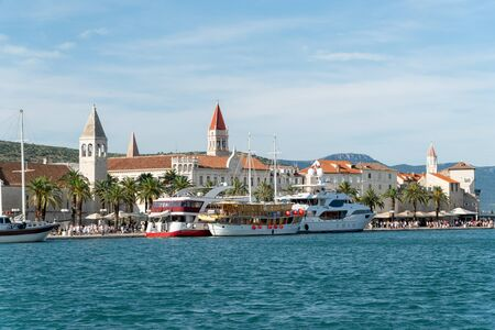 Waterfront view at coastal croatian town Trogir - famous touristic and historic place in Croatia