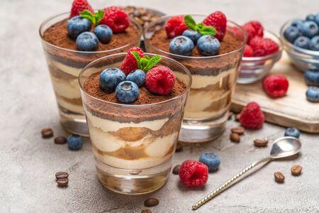 Classic tiramisu dessert with blueberries and raspberries in a glass and bowls with berries on concrete background Reklamní fotografie