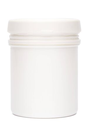 white plastic medicine vial can jar isolated on white background