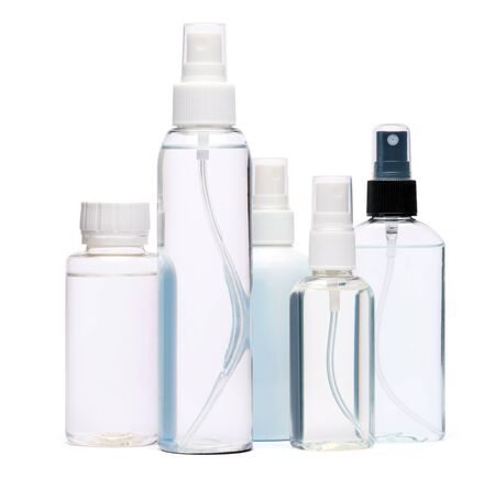 group of hand sanitizer spray bottles isolated on white background. Foto de archivo