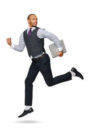 happy young african businessman jumping high isolated on white background 版權商用圖片