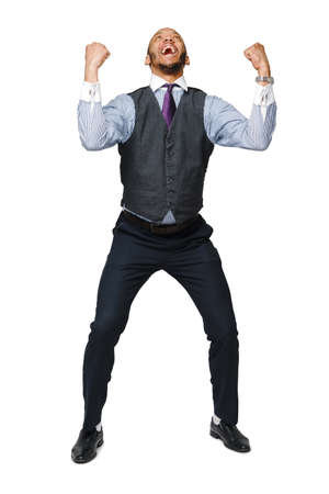 Young smart shouting african-american businessman doing success gesture