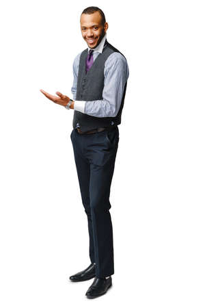 full length studio shot of a african-american businessman Isolated on white background 版權商用圖片