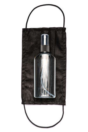 bottle of lotion, sanitizer or liquid soap and medical protective masks over light grey background Standard-Bild - 157341385