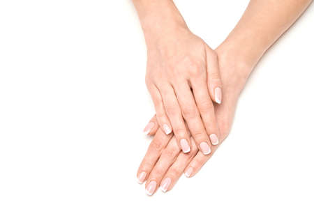 Beautiful Female Hands with French manicure over light grey background Stock Photo