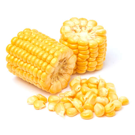 Pieces of Fresh organic corn cob and seeds isolated on white background Archivio Fotografico