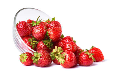 Glass bowl of Fresh strawberry isolated on white background