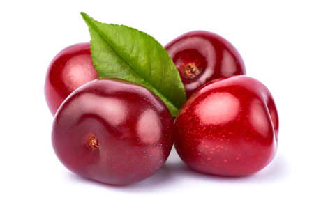 sweet cherry fruits isolated on white background Foto de archivo