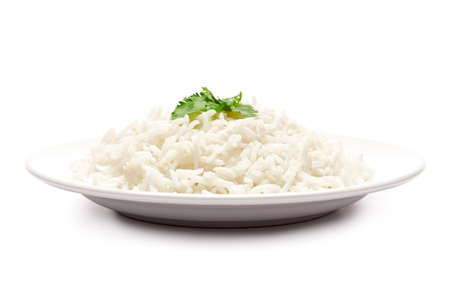 Plate of Boiled Rice isolated on a white background