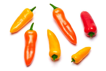 Group of Chili or sweet peppers isolated on white background