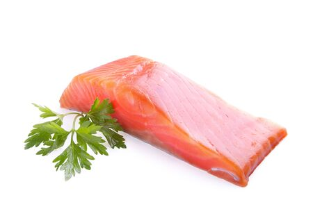 red fish: red fish meat on white background