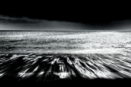 b w images: Disturbing sea in black   white infrared