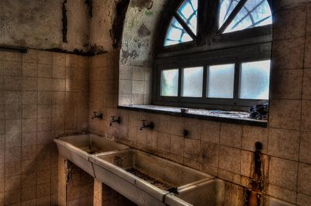 asylum: scene of abandoned asylum Stock Photo