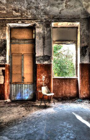 scene of abandoned asylum Stock Photo