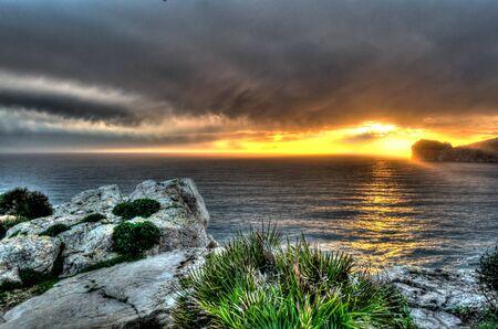 hdri: Landscape of coast of Capo Caccia from Punta Giglio at sunset in winter
