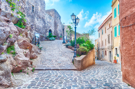the beautiful alley of castelsardo old city - sardinia - italy