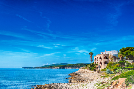 typical: View of little town of Fertilia in a sunny day, village near Alghero, Sardiia