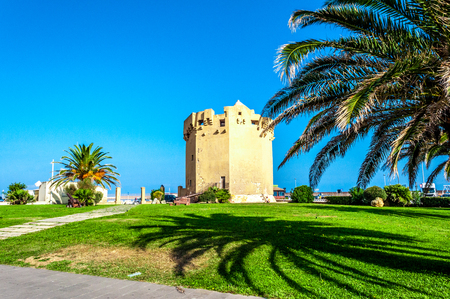 View of Aragonese tower in Porto Torres harbour in a sunny day - Sardinia Stock fotó