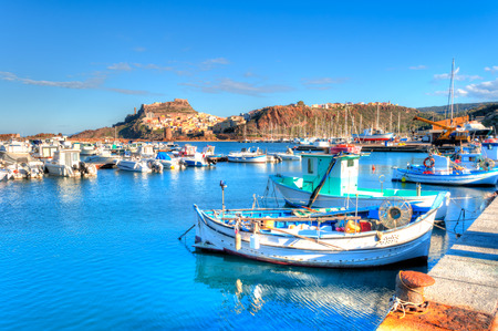 View of ancient villageof Castelsardo - Sardinia  from the harbor in a suny day Stockfoto