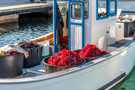 Fishing net on a small fishing boat