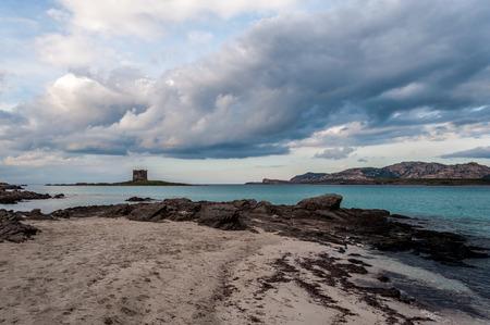 Desert beach of Stintino La Pelosa - Sardinia - in winter clody noon Stock Photo