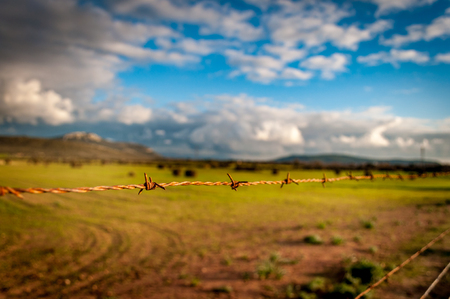 Closeup of barbed wire closing a desert field under a dramatic sky Stock Photo