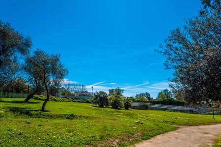The park of Monserrato, in the city of Sassari,  in a sunny day of spring Stock Photo