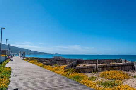 View of San Pietro a Mare beach in sardinia, near Valledoria and Badesi, in a sunny day Foto de archivo