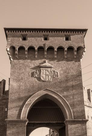 Porta San Felice in Bologna, Italy, in sephia effect - black and white Stock Photo