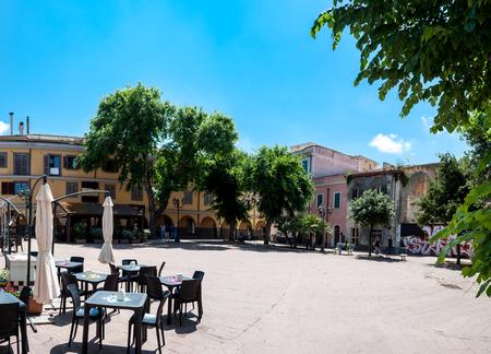 Garibaldi square - Piazza Garibaldi in Porto Torres, Sardinia, in a sunny day of spring