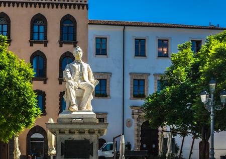Closeup of statue in the Tola square in the city of Sassari, Sardinia Stock fotó