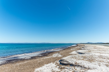 Landscape of the beach of Le Saline, in north sardinia, in a sunny day Stok Fotoğraf