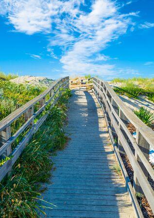 Wooden footbridge on the beach in summer day