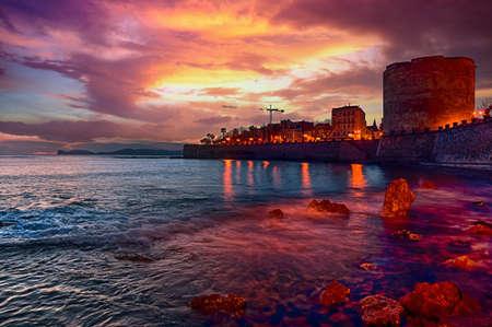 Landscape with dramatic cloudy sky of city of Alghero, Sardinia.tif