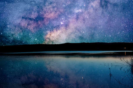 Nightscape of milky way reflected on the surface of the lake