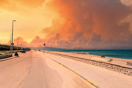 landscape on the beach at sunset
