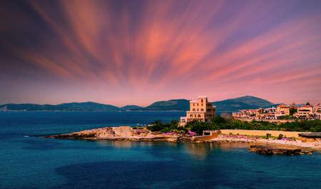 Landscape of the city of Alghero - Sardinia in a dramatic summer sunset Foto de archivo