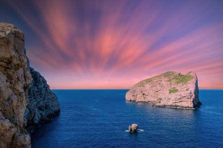 Landscape of sardinian coast at summer sunset