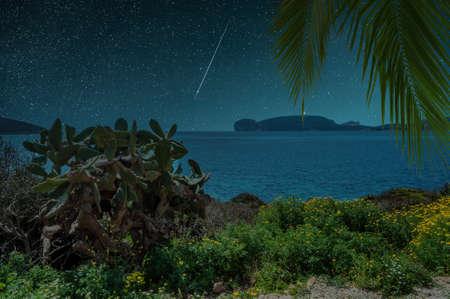 View of Capo Caccia from the coast near Maristella Foto de archivo