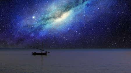 fishing boat sails under the milky way at night Foto de archivo