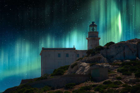 Landscape of lighthouse with awesome northen lights