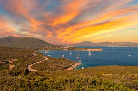 Landscape of sardinian coast of Capo Caccia, near the city of Alghero, at dramatic sunset