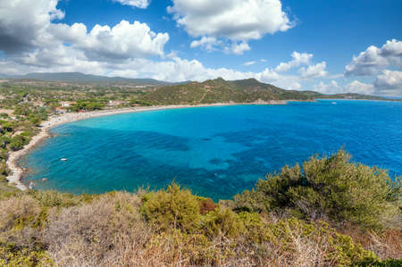 Landscape of coast of Sardinia - South coast Villasimius, in a sunny and cloudy day