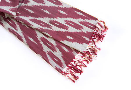 Red scarf on white background Stock Photo