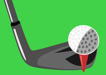 Golf detail on ball tee box  and iron stick Illustration