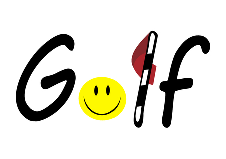Golf logo with ball like emoji and red flag Illustration