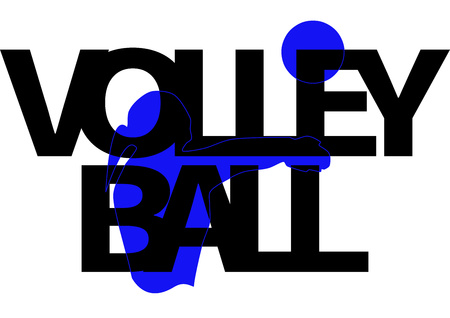 Volleyball banner with silhouette of a girl with a ball