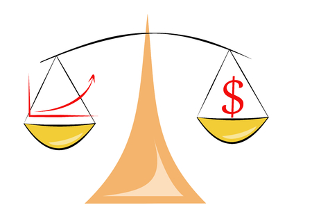 Relación rendimiento precio escalas gráfico en dólares Ilustración de vector